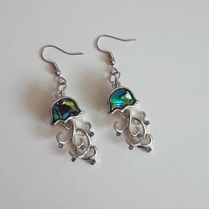 Marble shell jellyfish with rhinestones earrings